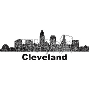 black and white city skyline vector clipart USA Cleveland clipart. Commercial use image # 402721