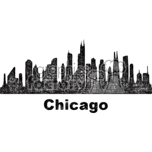 black and white city skyline vector clipart USA Chicago clipart. Royalty-free image # 402731