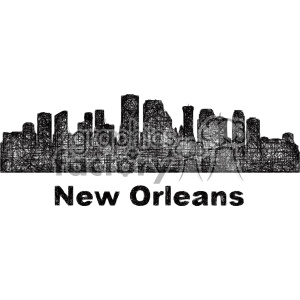 black and white city skyline vector clipart USA New Orleans clipart. Commercial use image # 402741