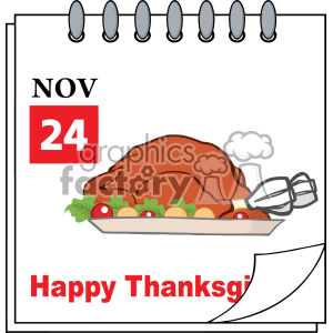 Cartoon Calendar Page With Roasted Turkey Vector clipart. Royalty-free image # 402746