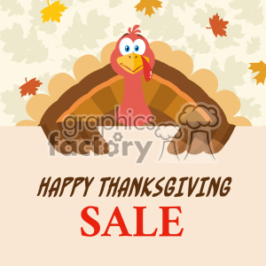 Happy Thanksgiving Turkey Bird Cartoon Mascot Character Holding A Happy Thanksgiving Sale Sign Vector Flat Design Over Background With Autumn Leaves clipart. Royalty-free image # 402751