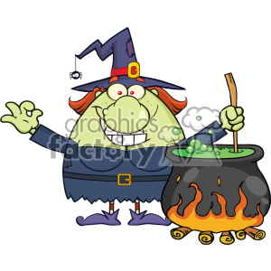 Ugly Halloween Witch Cartoon Mascot Character Preparing A Potion In A Cauldron Vector