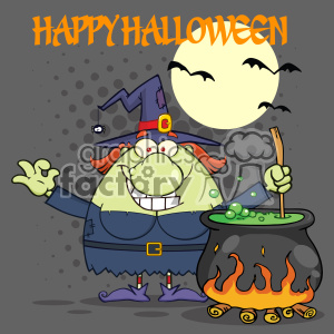 Ugly Halloween Witch Cartoon Mascot Character Preparing A Potion In A Cauldron Vector With Halftone Background And Text Happy Halloween clipart. Commercial use image # 402771