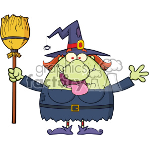 Happy Witch Cartoon Mascot Character Holding A Broom Vector clipart. Royalty-free image # 402776