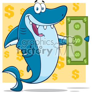 cartoon animals funny character mascot shark sharks paycheck money
