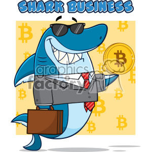 Smiling Business Shark Cartoon In Suit Carrying A Briefcase And Holding A Goden Bitcoin Vector Illustration With Yellow Background With Bitcoin Symbols And Text Shark Business