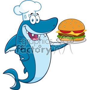 Clipart Chef Blue Shark Cartoon Holding A Big Burger Vector clipart. Royalty-free image # 402791