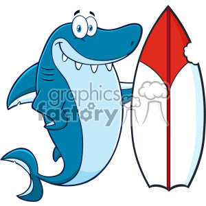 Clipart Smiling Blue Shark Cartoon With Surfboard Vector Vector clipart. Royalty-free image # 402796