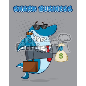 Smiling Business Shark Cartoon In Suit Carrying A Briefcase And Holding A Money Bag Vector Illustration With Gray Halftone Background And Text Shark Business
