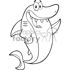 Clipart Black And White Happy Shark Cartoon Waving For Greeting Vector