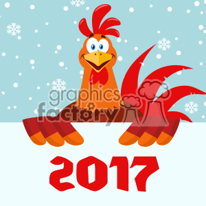 Happy Red Rooster Bird Cartoon Holding A Sign Vector Flat Design Over Snow Background With 2017 Numbers