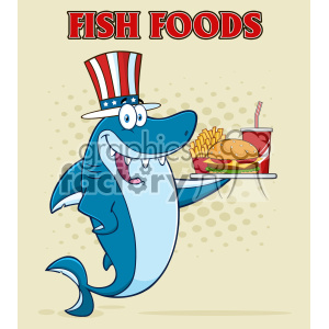 American Blue Shark Cartoon With Patriotic Hat Holding A Platter With Burger French Fries And A Soda Vector Illustration With Halftone Background And Text Fish Foods clipart. Commercial use image # 402816