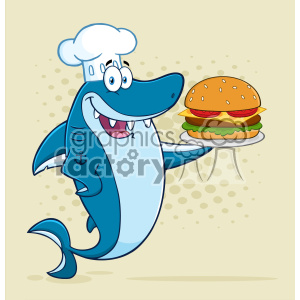 Clipart Chef Blue Shark Cartoon Holding A Big Burger Vector With Halftone Background