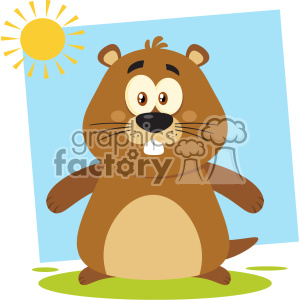 Cute Marmot Cartoon Character Vector Flat Design With Background
