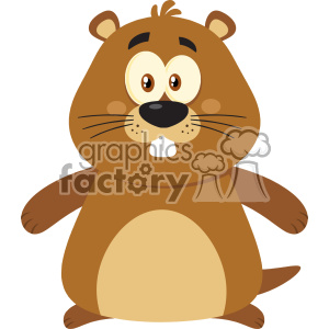 Cute Marmot Cartoon Character Vector Flat Design