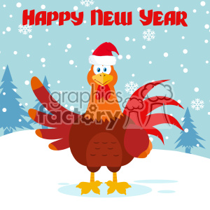 royalty free cute red rooster bird cartoon waving vector flat design with snow background and text happy new year clipart images and clip art illustrations