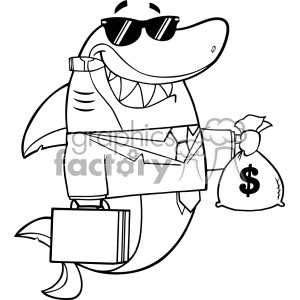 Black And White Smiling Business Shark Cartoon In Suit Carrying A Briefcase And Holding A Money Bag Vector
