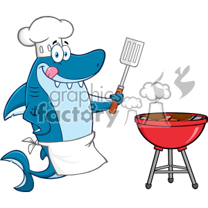 Chef Blue Shark Cartoon Licking His Lips And Holding A Spatula By A Barbeque With Roasted Burgers Vector