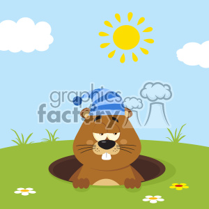 Cute Marmot Cartoon Character With Sleeping Hat Emerging From A Hole In Groundhog Day Vector Flat Design With Background clipart. Royalty-free image # 402858