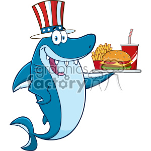 American Blue Shark Cartoon With Patriotic Hat Holding A Platter With Burger French Fries And A Soda Vector Illustration clipart. Commercial use image # 402868
