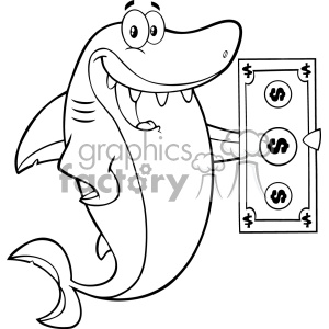 Clipart Black And White Happy Shark Cartoon Holding A Dollar Bill Vector