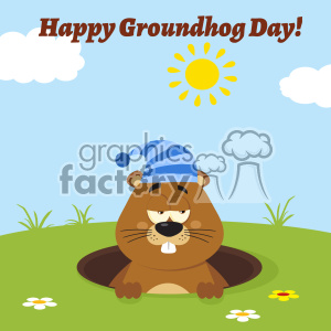 Cute Marmot Cartoon Character With Sleeping Hat Emerging From A Hole Vector Flat Design With Background And Text Happy Groundhog Day clipart. Royalty-free image # 402878