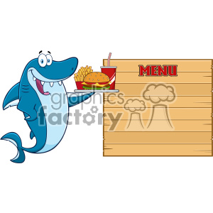 Cute Blue Shark Cartoon Holding A Platter With Burger French Fries And A Soda To Wooden Blank Board With Text Menu Vector Illustration clipart. Royalty-free image # 402885