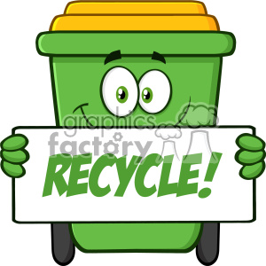 Smiling Green Recycle Bin Cartoon Mascot Character Holding A Recycle Sign Vector