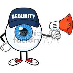 Blue Eyeball Cartoon Mascot Character Security Guard Using A Megaphone Vector clipart. Commercial use image # 402902