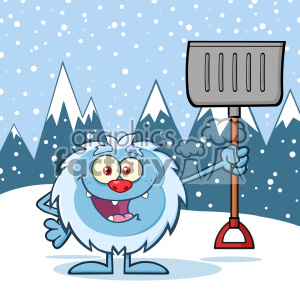 Happy Little Yeti Cartoon Mascot Character Holding Up A Winter Shovel Vector Over Snow Montains Background