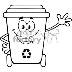 Black And White Happy Recycle Bin Cartoon Mascot Character Waving For Greeting Vector clipart. Royalty-free image # 402912