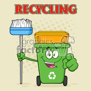 Open Green Recycle Bin Cartoon Mascot Character Holding A Broom And Pointing For Clining Vector With Halftone Background And Text Recycling clipart. Royalty-free image # 402922