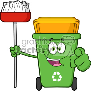 Open Green Recycle Bin Cartoon Mascot Character Holding A Broom And Pointing For Clining Vector