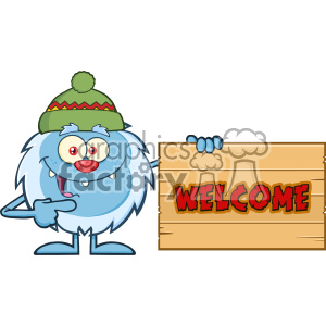Cute Little Yeti Cartoon Mascot Character With Hat Pointing To A Welcome Wooden Sign Vector clipart. Royalty-free image # 402942