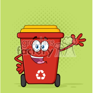 Happy Red Recycle Bin Cartoon Mascot Character Waving For Greeting Vector With Green Halftone Background clipart. Royalty-free image # 402947