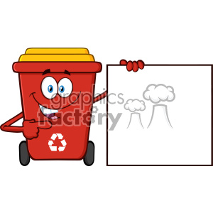 Talking Red Recycle Bin Cartoon Mascot Character Pointing To A Blank Sign Banner Vector