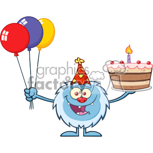 Happy Little Yeti Cartoon Mascot Character Wearing A Party Hat And Holding Balloons And A Birthday Cake Vector clipart. Royalty-free image # 402957