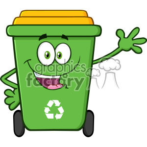 Happy Green Recycle Bin Cartoon Mascot Character Waving For Greeting Vector