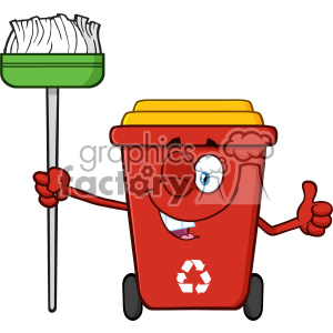 Winking Red Recycle Bin Cartoon Mascot Character Holding A Broom And Giving A Thumb Up Vector