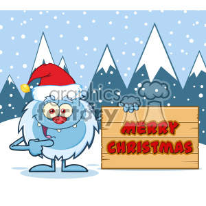 Happy Little Yeti Cartoon Mascot Character With Santa Hat Pointing To A Merry Christmas Wooden Sign Vector With Snow Montains Background clipart. Royalty-free image # 402972