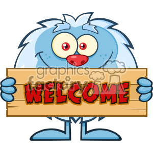 Cute Little Yeti Cartoon Mascot Character Holding Welcome Wooden Sign Vector clipart. Commercial use image # 402982