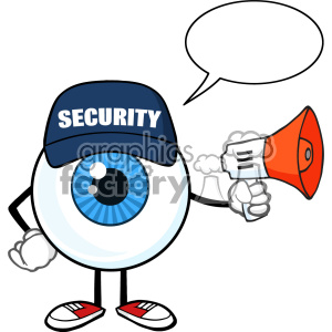 Blue Eyeball Cartoon Mascot Character Security Guard Using A Megaphone With Speech Bubble Vector