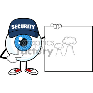 Blue Eyeball Cartoon Mascot Character Security Guard Pointing A Blank Sign Banner Vector clipart. Commercial use image # 402992