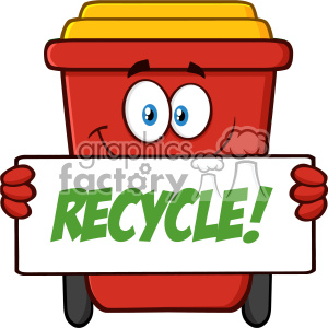Smiling Red Recycle Bin Cartoon Mascot Character Holding A Recycle Sign Vector