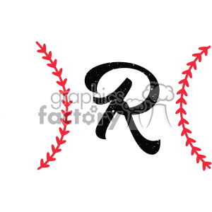 baseball monogram letter r design svg cut file vector clipart. Royalty-free image # 403053