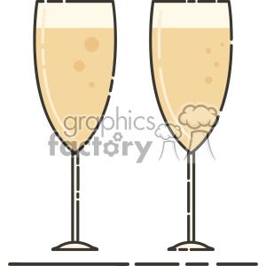 champagne glasses vector flat icon design