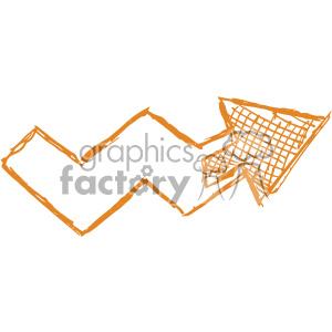 sketched right orange arrow vector art