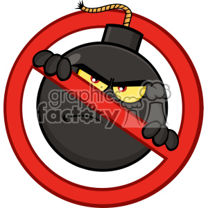 10810 Royalty Free RF Clipart Mad Bomb Cartoon Mascot Character In A Prohibited Symbol Form Vector Illustration