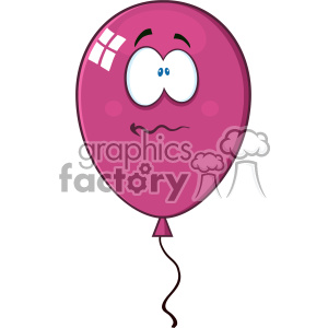10743 Royalty Free RF Clipart Nervous Bright Violet Balloon Cartoon Mascot Character Vector Illustration