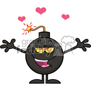 10802 Royalty Free RF Clipart Lover Bomb Cartoon Mascot Character With Open Arms For Hugging And Hearts Vector Illustration